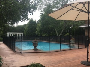 black removable mesh pool fence