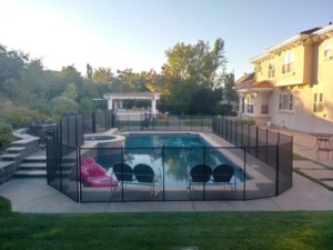 mesh pool fence installed